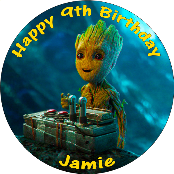 GUARDIANS OF THE GALAXY BABY GROOT EDIBLE ROUND CAKE TOPPER